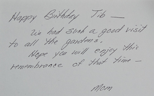 Birthday note from Mom
