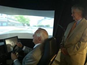drive simulator delegates Tom Rust and Joe May